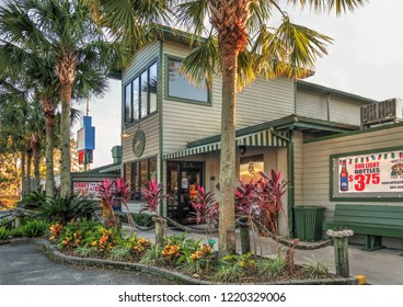 Fleming Island, Florida / USA - November 22, 2016: Whitey's Fish Camp Restaurant Front Entrance On a Clear Evening