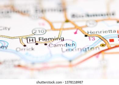 Fleming. Missouri. USA on a geography map