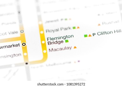 Flemington Bridge Station. Melbourne Metro map. on a map.