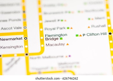Flemington Bridge Station. Melbourne Metro map.