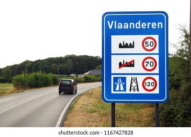 Flemish Region border signboard. Sign of Speed limits at the border of Flanders (Flemish: Vlaanderen).