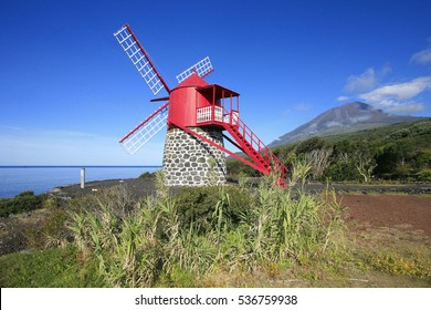 Flemish-inspired windmill in island of Pico, Azores islands, Portugal