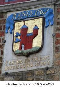 Flensburg coat of arms on the Nordertor, Flensburg (Schleswig-Holstein, Germany), 1595, by Heinrich Ringerinck