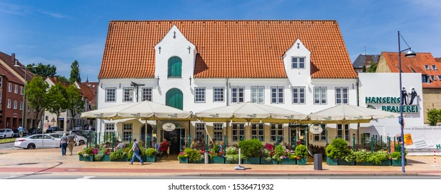FLENSBURG, GERMANY - JUNE 25, 2019: Historic beer brewery and restaurant in Flensburg, Germany