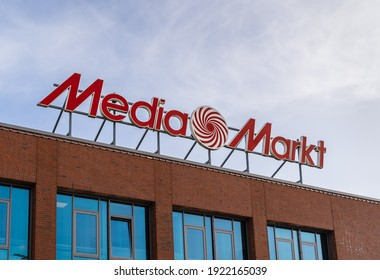 Flensburg,Schleswig-Holstein,Germany - 02.22.2021 Media Markt sign on the top of a roof