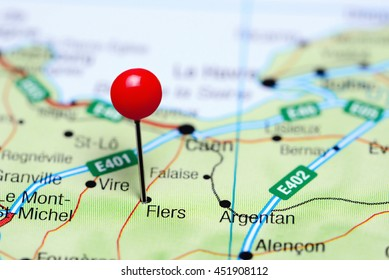 Flers pinned on a map of France