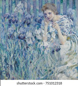 FLEUR DE LIS, by Robert Reid, c. 1895-1900, American painting, oil on canvas. Reid studied in Paris from 1885-89 before establishing himself as a portraitist in New York City. This lush impressionisti