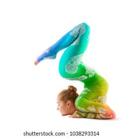 Flexible Circus Performer, Acrobat Dancer in Multicolored Costume, Contortionist Woman Gymnast Isolated on White Background