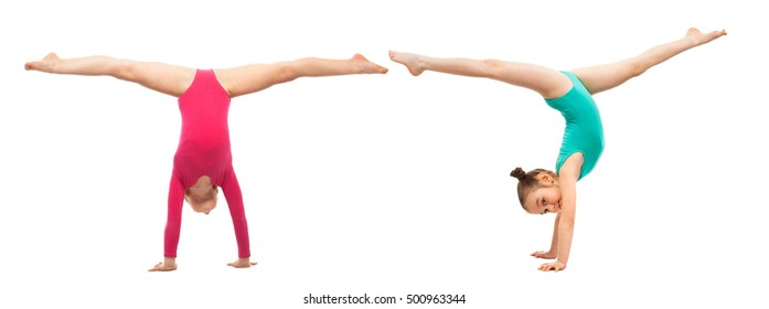 Flexible kids gymnasts standing on hands, isolated on white background. Sport, active lifestyle concept