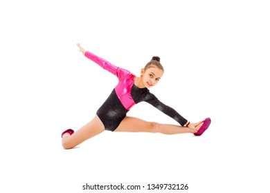 Flexible little gymnast isolated on white background