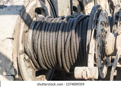 Flexible strength wire rope sling or the cable sling on winch roll of the crane use for lifting the machinery in heavy industrial or building and construction