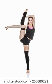 flexible teen ballet dancer stretching exercise