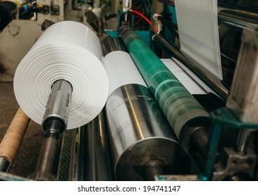 Flexo press for printing label.