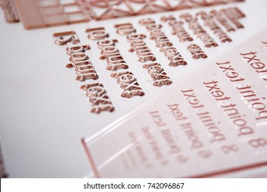 Flexographic printing plate close up.