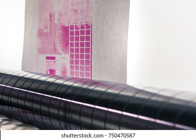 Flexography Backlit Proofing Web Roller Preview Test Calibration Closeup Press Machine Industrial Running Magenta Quality Sheet Material
