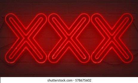 flickering blinking red neon sign on brick wall background, sexy adult show night club xxx sign concept