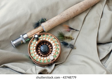 Flies and fly rod ready to go fishing