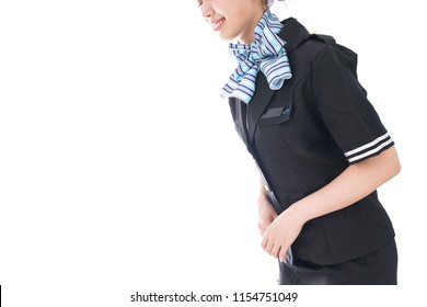flight attendant bowing