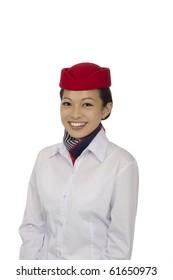 flight attendant on white background