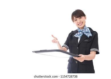 flight attendant service in airplane