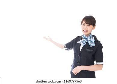flight attendant showing around