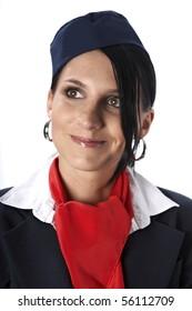 Flight attendant smile