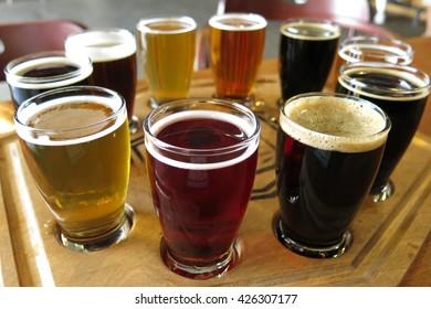 flight of beers at a beer tasting