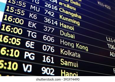 Flight board background of Changsha, Khunming, Hanoi, Dubai, Hongkong, Kolkata, Samui
