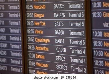 Flight board - Destination airports.