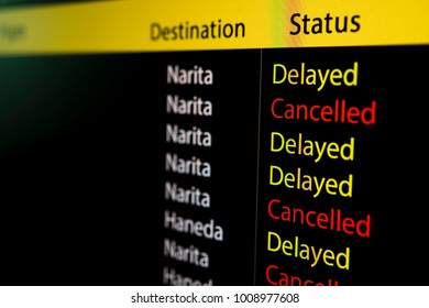 Flight board display delayed and cancelled status of flight to and from Tokyo's airport eg. Narita and Haneda due to severe snow storm