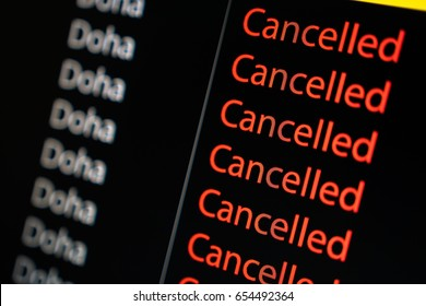 Flight board display flight to Doha cancelled status due to diplomatic tie cut with Qatar