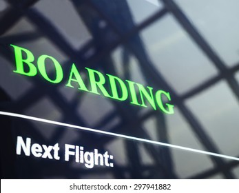 Flight Boarding information Signage at the Airport