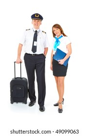 Flight crew. Cheerful pilot with trolley bag in hand and smiling flight attendant with documents wearing uniforms standing, isolated over white background