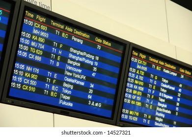 Flight departure information board at airport