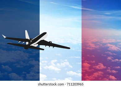 Flight to France flag with the silhouette of aircraft for tourism and sale of tickets illustration