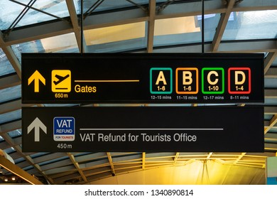 Flight information, Gates and VAT refund for Tourists  board at international airport - Directions for check in and boarding gates - Registrations and custom at terminal connections
