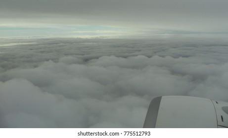 Flight Krakow Athens, flight above clouds