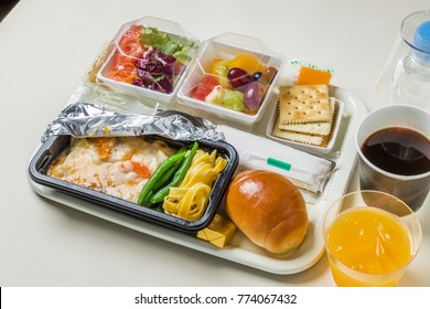 In flight meal of the international air line economy class