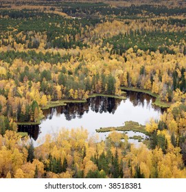 The Flight over autumn forest lake in time of cloudy day.
