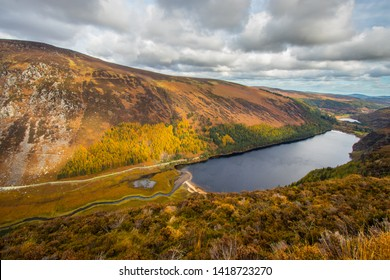 Flight over the lakes at Glendalough in the Wicklow mountains of Ireland - travel photography