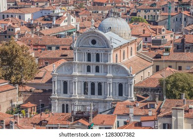 Flight over Venice. Panoramic aerial view of the San Zaccaria Church in Venice from San Marco Campanile, Venice, Veneto, Italy