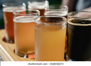 Flight selection sample of beers, porter, stout, ale, larger, pale ale, IPA, APA,Weiss beer, White beer,