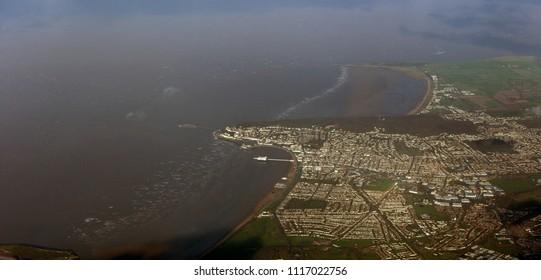 In flight shot of Weston-super-Mare, Somerset. England, UK.