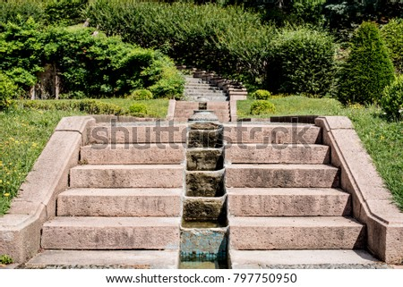 Flight Of Steps In A Garden, Architectural Gardening In Old Italian House