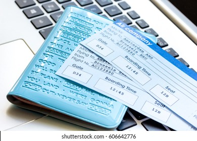 flight tickets payment online with cards on keyboard