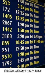 Flight time reader board sign, shallow depth of field. Vertical shot.