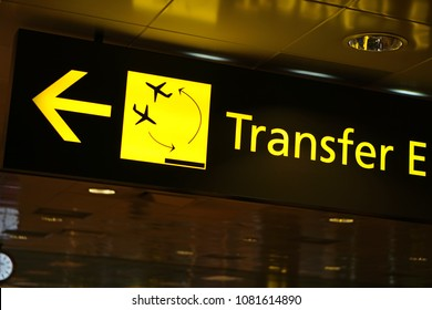 Flight Transfer sign in airport
