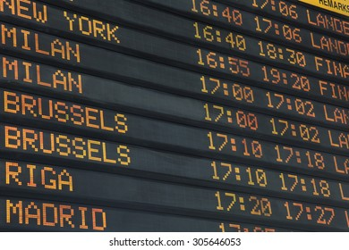 Flights, arrival and departures on information board
