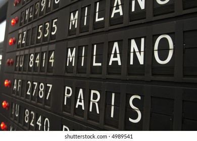 Flights info board on airport concept. Fashion cities Paris and Milano