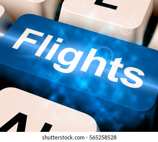Flights Key In Blue For Overseas Vacation Or Holidays 3d Rendering